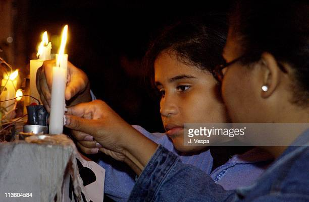 Supporters congregate at the Armory for an organized candlelight vigil during the aftermath of the World Trade Center Terrorist Attack