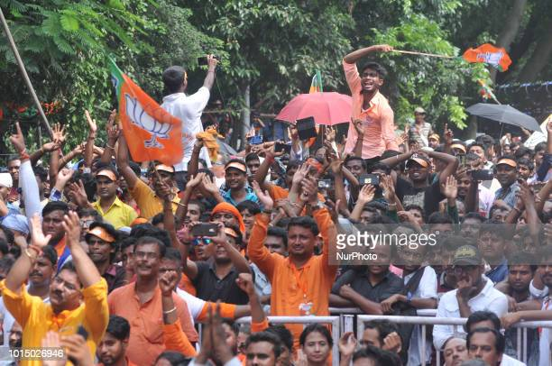 Supporters crowd at the Yuva Swabhiman Samavesh rally Political rally on August 11,2018 in Kolkata,India. BJP National President Amit Shah his first...