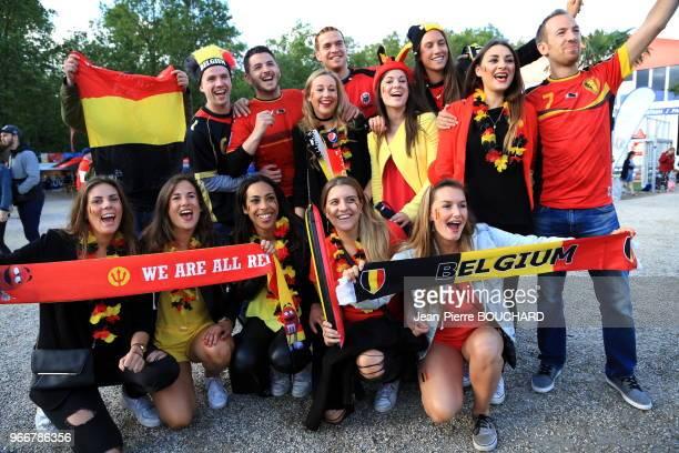 Supporters de l?équipe de Belgique de football à l?Euro 2016 le 13 juin 2015, Fan Zone de Bordeaux, France.