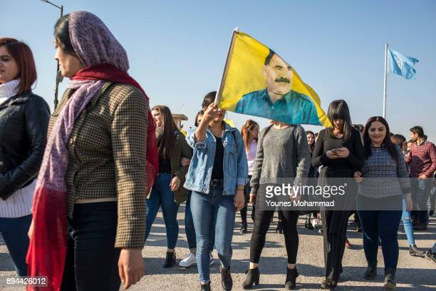 Supporters demonstrate in front of the UN building during a protest against the Turkish Government in which they called for Abdullah Ocalan to be...