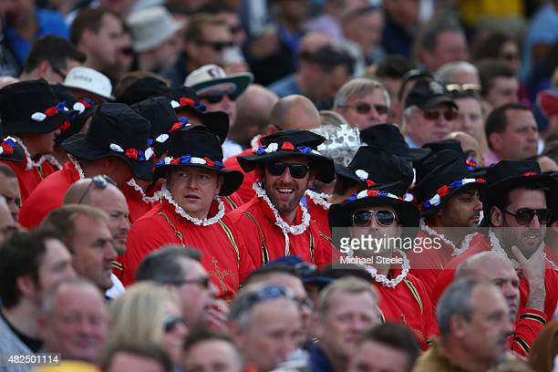 Supporters dressed as Beefeaters during day three of the 3rd Investec Ashes Test match between England and Australia at Edgbaston on July 31 2015 in...