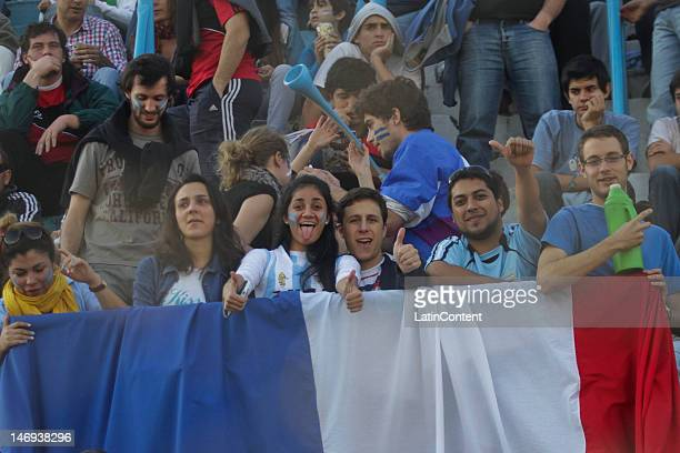Supporters during a match between Los Pumas from Argentina and France as part of the Standard Bank Cup at José Fierro stadium on June 23 2012 in...