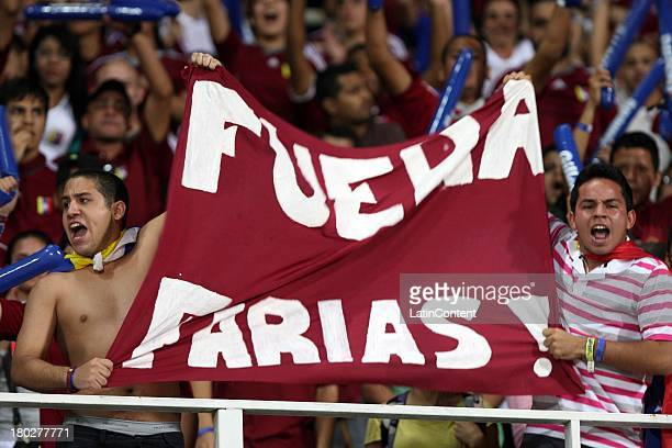 Supporters during a match between Venezuela and Peru as part of the 16th round of the South American Qualifiers at Olimpico Stadium on September 10...