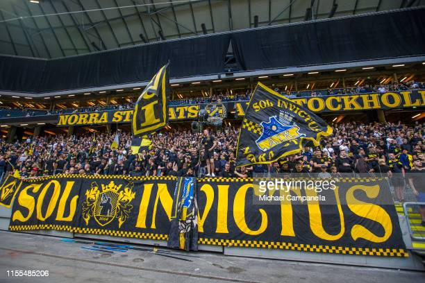 Supporters during an Allsvenskan match between AIK and IF Elfsborg at Friends Arena on July 13, 2019 in Stockholm, Sweden.
