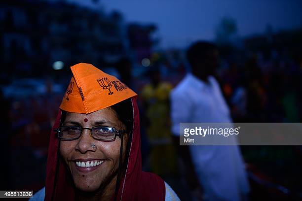 Supporters during an election campaign of BJP candidate Kirron Kher for Lok Sabha election 2014 on March 27 2014 in Chandigarh India