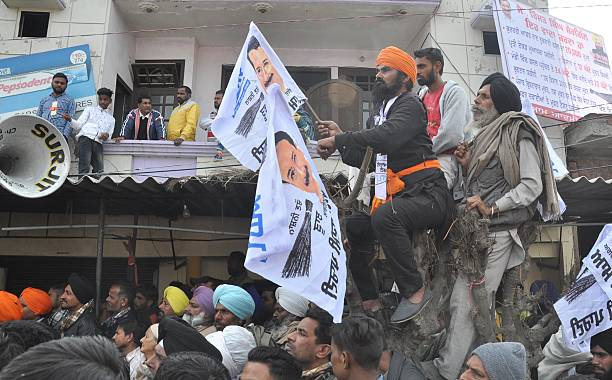 AAP supporters during an election rally of Delhi CM Arvind Kejriwal at Naag Kalan village in Majitha constituency on January 29 2017 in Amritsar...