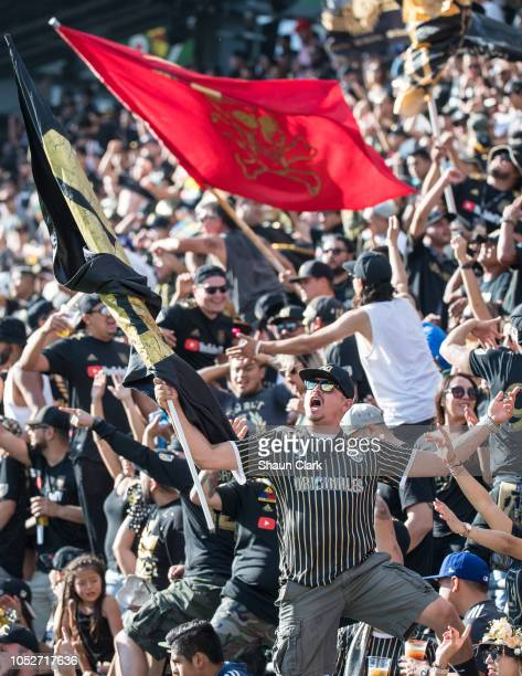 Supporters during Los Angeles FC's MLS match against Vancouver Whitecaps FC at the Banc of California Stadium on October 21 2018 in Los Angeles...