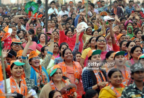 BJP supporters during Prime Minister Narendra Modi's election campaign rally on April 14 2019 at Kathua district about 80 km from Jammu India India's...