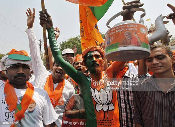 BJP supporters during protest led by BJP leaders Amit Shah Ananth Kumar and Arun Jaitley at the gate of the Banaras Hindu University on May 8 2014 in...
