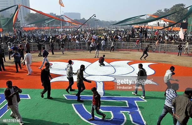 BJP supporters during the 'Abhinandan rally' of Prime Minister Narendra Modi at Ramlila Maidan on January 10 2015 in New Delhi India Modi appeals the...