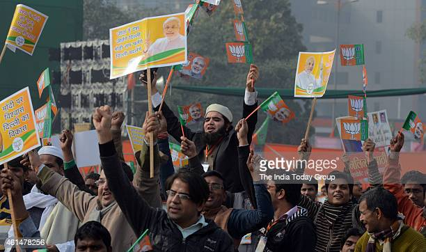 Supporters during the BJP's 'Abhinandan' rally in New Delhi