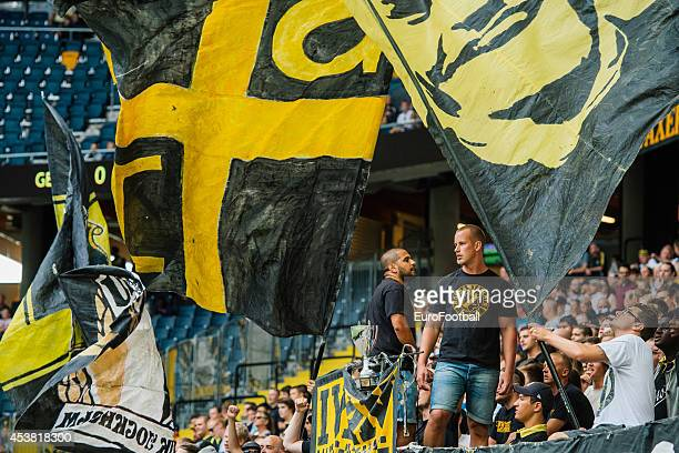 AIK supporters during the Friends Arena before the Swedish Allsvenskan League match between AIK and Gefle IF at the Friends Arena on August 102014 in...