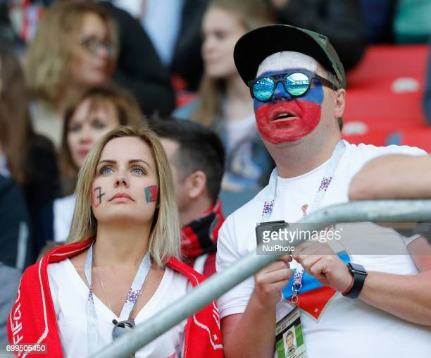 Supporters during the Group A FIFA Confederations Cup Russia 2017 match between Russia and Portugal at Spartak Stadium on June 21 2017 in Moscow...