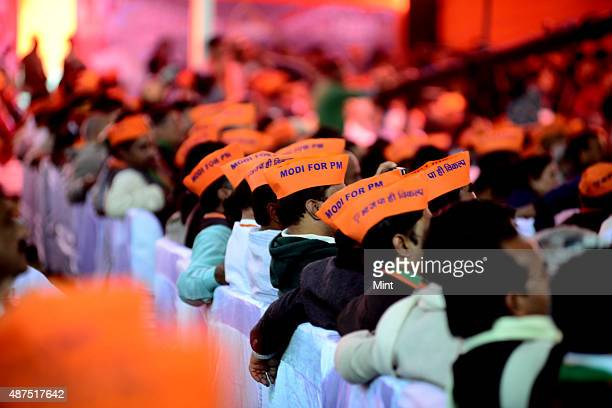 BJP supporters during the party's national council meeting at Ramlila ground on January 19 2014 in New Delhi India