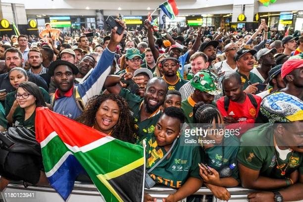 Supporters during the South African national rugby team arrival media conference at OR Tambo International Airport on November 05 2019 in...