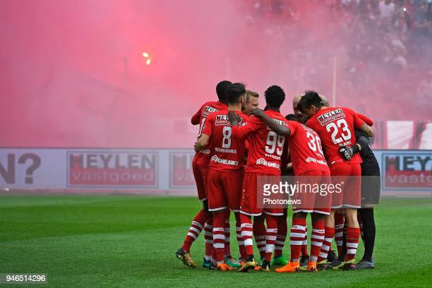 Supporters Fans showing their colors during the Jupiler Pro League play off 2 match between Royal Antwerp FC and Beerschot Wilrijk on April 15 2018...