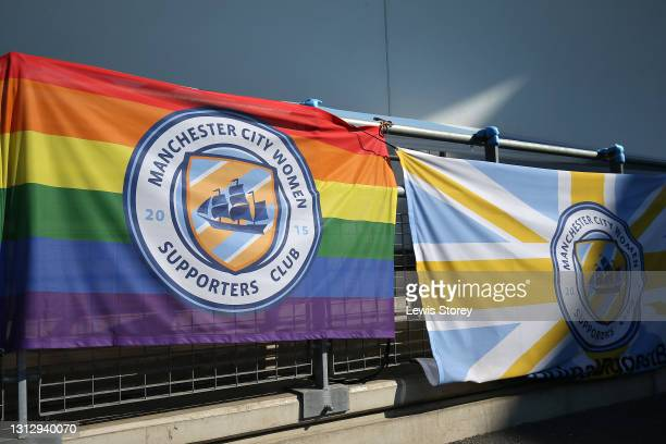 Supporters flags are seen outside the stadium prior to the Vitality Women's FA Cup Fourth Round match between Manchester City Women and Aston Villa...