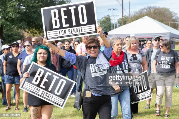 Supporters for Democratic candidate to the US Senate Beto ORourke attend his last public event before election night at the Pan American Neighborhood...
