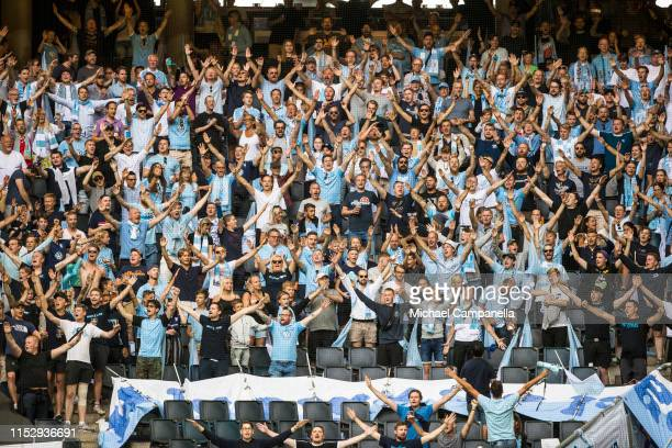 Supporters from Malmo FF seen during an Allsvenskan match between AIK and Malmö FF at Friends Arena on June 30, 2019 in Stockholm, Sweden.