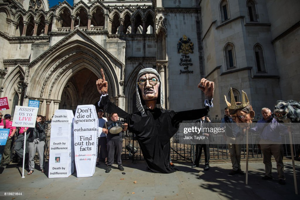 Supporters from the group Distant Voices, who oppose the liberalisation of euthanasia laws, demonstrate with a giant puppet of a judge outside the Royal Courts of Justice, Strand on July 17, 2017 in London, England. Noel Conway, 67, who is terminally ill with motor neurone disease, is seeking a legal challenge on the law banning assisted dying.