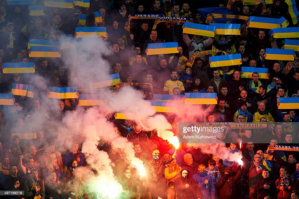 Supporters from Ukraine light fireworks during the UEFA EURO 2016 Play-off for Final Tournament, First leg between Ukraine and Slovenia at Lviv Arena on November 14, 2015 in Lviv, Ukraine.