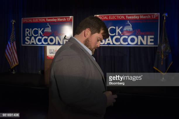Supporters gather ahead of an election night rally with Rick Saccone Republican candidate for the US House of Representatives not pictured in...