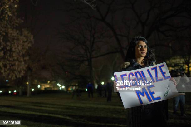 DACA supporters gather at a rally outside the US Capitol on January 19 2018 in Washington DC A continuing resolution to fund the government has...