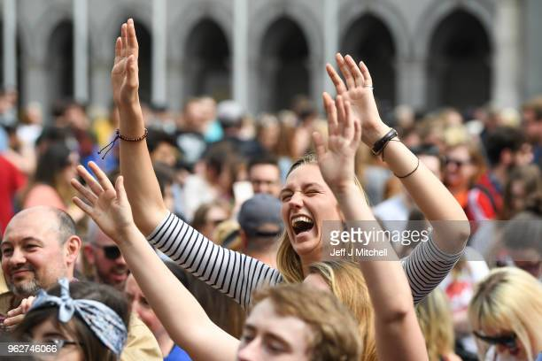 Supporters gather at Dublin Castle for the result Irish referendum result on the 8th amendment concerning the country's abortion laws on May 26, 2018...