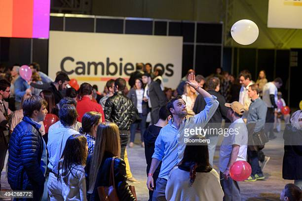 Supporters gather at the campaign headquarters of Mauricio Macri mayor of Buenos Aires and presidential candidate on election night in Buenos Aires...