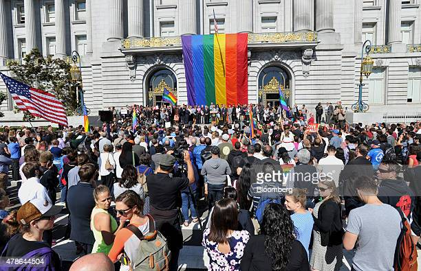 Supporters gather for a news conference outside City Hall after the US Supreme Court samesex marriage ruling in San Francisco California US on Friday...