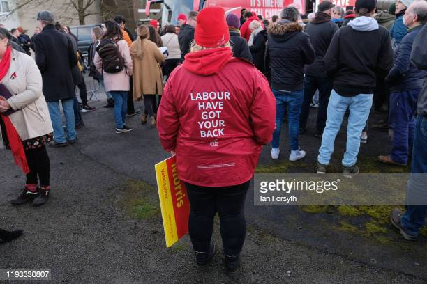 Supporters gather for a stump speech by Labour leader Jeremy Corbyn at the Sporting Lodge Inn on December 11 2019 in Middlesbrough England The rally...