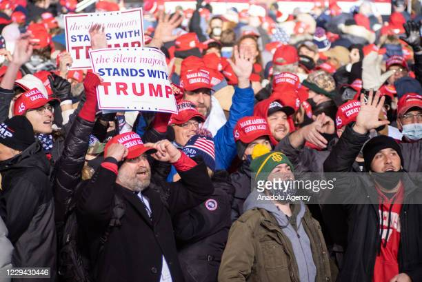 Supporters gather for U.S. President Donald J. Trumpâs a campaign rally held at the Kenosha Regional Airport in Kenosha, Wisconsin, United States on...