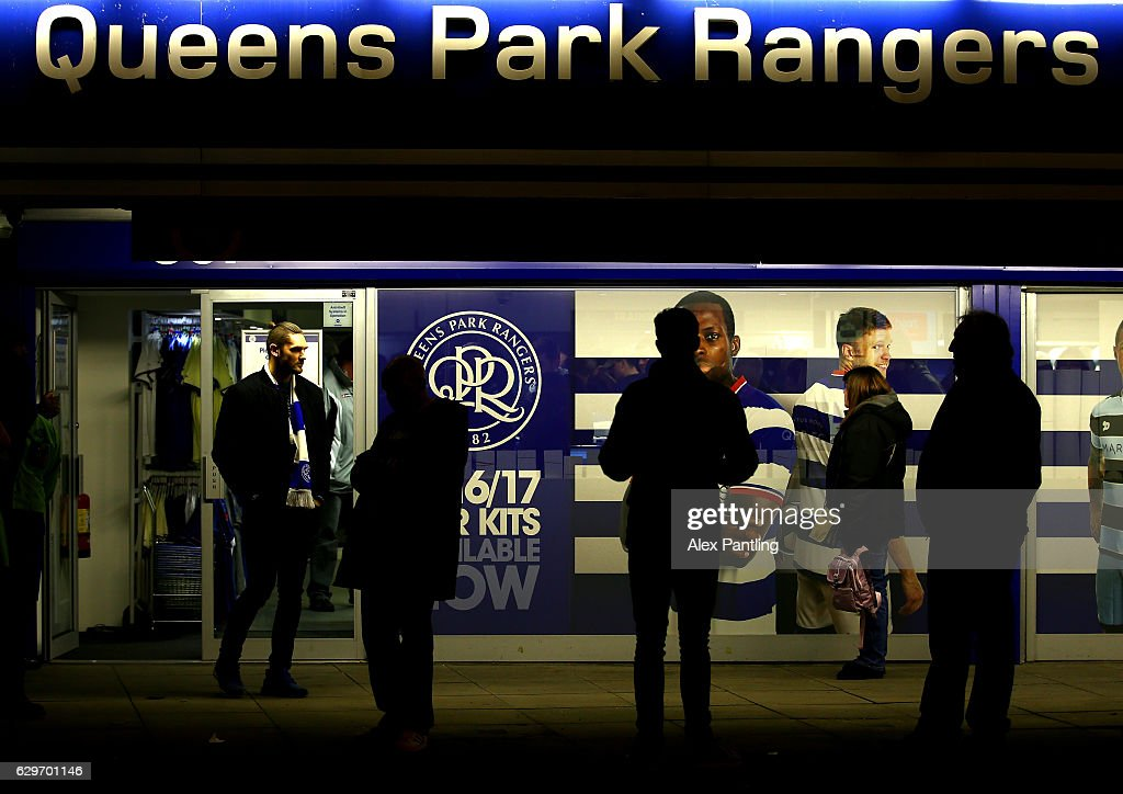 Supporters gather outside the stadium prior to the Sky Bet Championship match between Queens Park Rangers and Derby County at Loftus Road on December 14, 2016 in London, England.