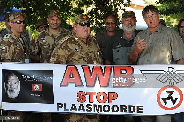 AWB supporters gather outside Ventersdorp magistrates court where Defendant Chris Mahlangu is on trial for the murder of white supremacist AWB leader...