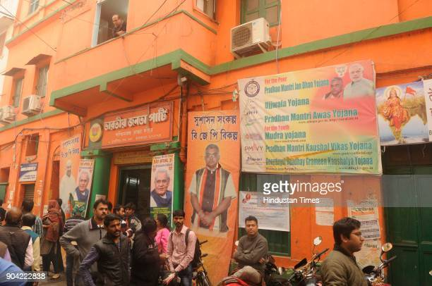 BJP supporters gathered in front of BJP party office after tension between BJP and Trinamool supporters at North Kolkata area on January 12 2018 in...
