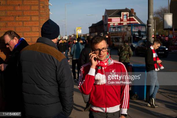 Supporters gathering at Anfield Stadium prior to Liverpool's Champions League quarter-final first leg tie against Porto. The English team beat their...