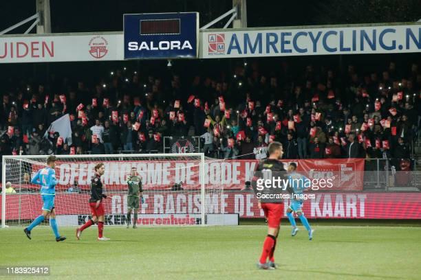 Supporters, Geef Racism de Rode Kaart, #saynotoracism during the Dutch Keuken Kampioen Divisie match between Excelsior v FC Volendam at the Van Donge...