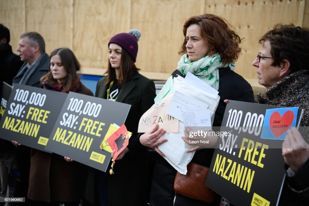 Supporters hold a collection of letters and posters calling for the release of jailed UK-Iranian woman Nazanin Zaghari-Ratcliffe before delivering them to the Iranian Embassy on February 21, 2018 in London, England. Her husband, Richard Ratcliffe had spoken to the press before attempting to deliver the letters ahead of a visit by Abbas Araghchi, Deputy for Legal and International Affairs in Iran's Foreign Ministry.
