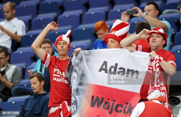 Supporters hold up a flag for Adam Wojcik of Poland during the FIBA Eurobasket 2017 Group A match between Poland and Iceland on September 2 2017 in...