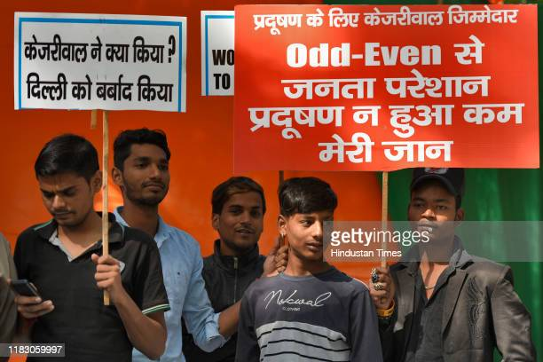 BJP supporters holding placards as they participate in a protest against Delhi chief minister Arvind Kejriwal for his alleged inaction to control...