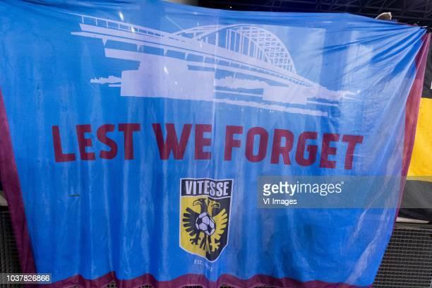 supporters honour war victims during the Dutch Eredivisie match between Vitesse Arnhem and ADO Den Haag at Gelredome on September 22 2018 in Arnhem...