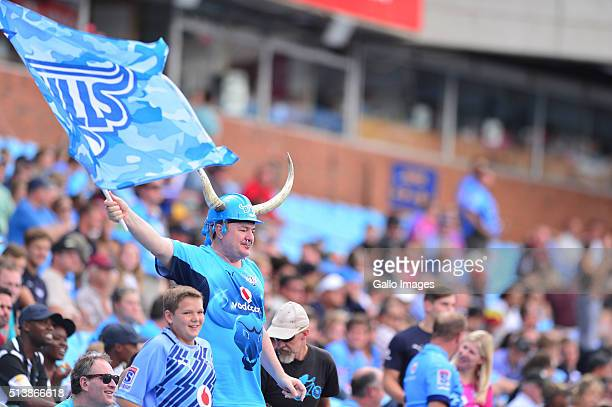 Supporters in action during the 2016 Super Rugby match between Vodacom Bulls and Rebels at Loftus Versfeld on March 05 2016 in Pretoria South Africa