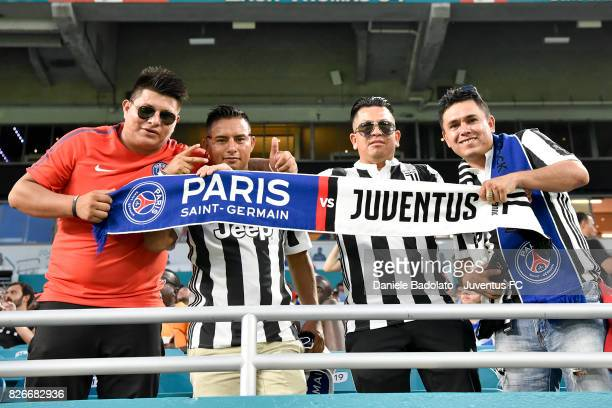 supporters in action during the International Champions Cup 2017 match between Paris Saint Germain and Juventus at Hard Rock Stadium on July 26 2017...