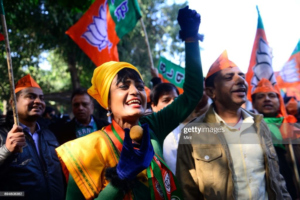 BJP Workers Celebrate After Victory In Gujarat And Himachal Pradesh Assembly Elections