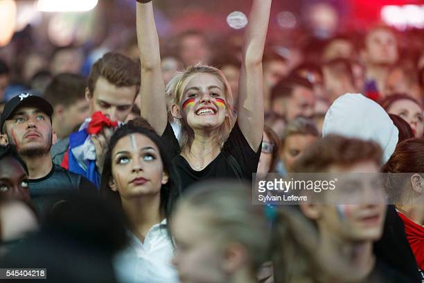 Supporters in Lille Fan Zone watch a live TV Broadcast of the Euro 2016 France vs Germany on July 7 2016 in Lille France