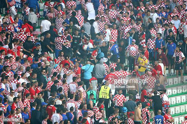 Supporters involved in crowed trouble during the UEFA EURO 2016 Group D match between Czech Republic and Croatia at Stade GeoffroyGuichard on June 17...