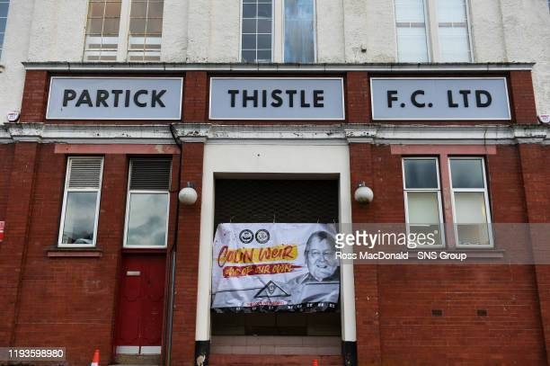 Supporters leave a tribute to Partick Thistles majority shareholder Colin Weir at The Energy Check Stadium at Firhill on January 14 in Glasgow...