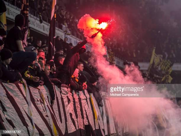 Supporters light flares during an Allsvenskan match between Kalmar FF and AIK at Guldfageln Arena on November 11, 2018 in Kalmar, Sweden.