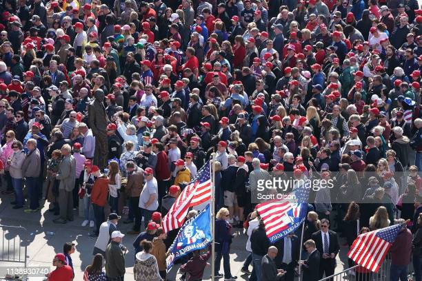 Supporters line up outside of the Van Andel Arena for a rally with President Donald Trump on March 28 2019 in Grand Rapids Michigan Grand Rapids was...