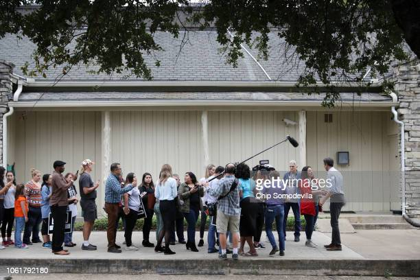 Supporters line up to have their photographs taken with US Senate candidate Rep Beto O'Rourke after a campaign rally at the John Knox Memorial Center...